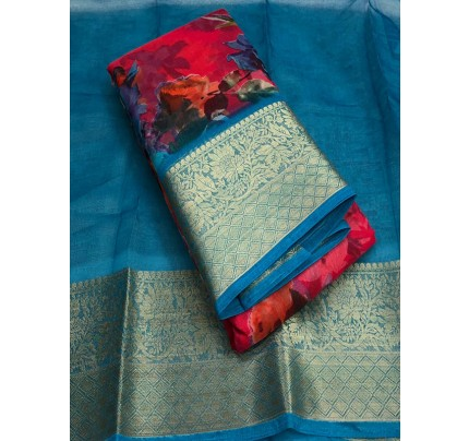 Finnest Look Organza Silk Saree With Excellent Colour Combinations With Latest Colouring Techniques Saree