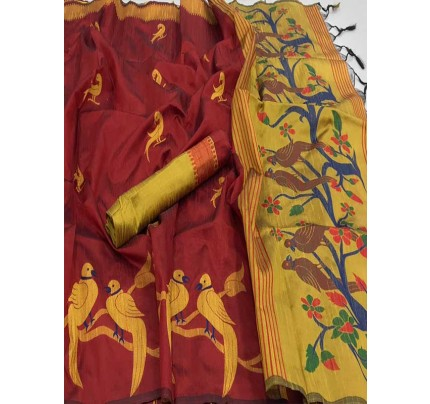 Beautiful Red Handloom Raw Silk Weaving Saree