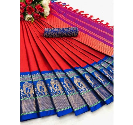 Elegance Look Red Colour Cotton Silk Saree with Broad contrast border