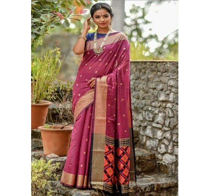 Wedding wear Purple color Soft Cotton Silk weaving Saree