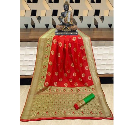 Special Edition Red Color Banarasi Silk Minakari Weaving Work Saree
