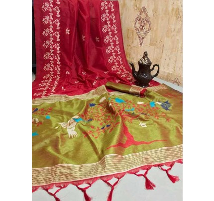 New Eye Catcher Red Color Soft Raw Silk Two Tone Weaving Saree