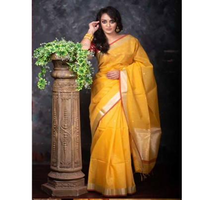 Stunning Yellow Color Linen Silk Saree With Silver Zari Checks