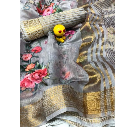 Floral Look Multi Color Pure Linen Silk Digital Printed Saree