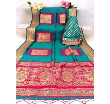 Superb Look Multi Color Kanjivaram Silk weaving Saree