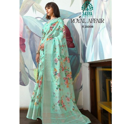 Stunning Look Cyan Color Pure Cotton Printed Saree with Jacquard weaving Border