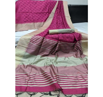 Beautiful Pink Handloom Raw Silk Saree With Embroidered Cut Work All Over