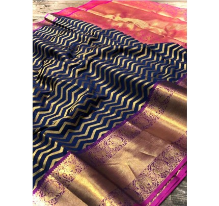 Attractive Look Blue Colour  Banarasi Silk With Beautiful Zari  Work Saree
