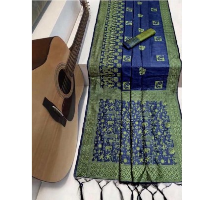 Beautiful Blue Handloom raw Silk Weaving Saree with kalamkari  woven pallu