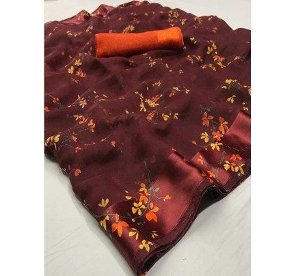 Beautiful Multi Color Linen Fabric Saree