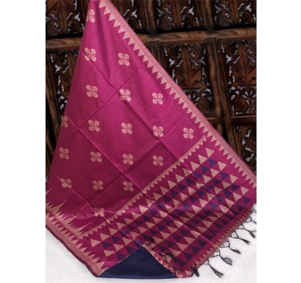 Beautiful Pink Handloom Raw Silk Weaving Saree With All Over Resham Weaving
