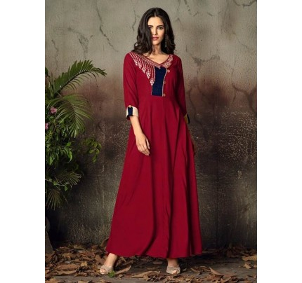 Red Color Heavy Rayon Long Kurti with Embroidery Work