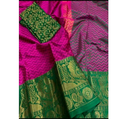 Elegance Look Marron Colored Rich Cotton  Saree