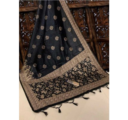 New Eye Catcher Black Color Handloom Raw Silk Saree With  Weaves Saree