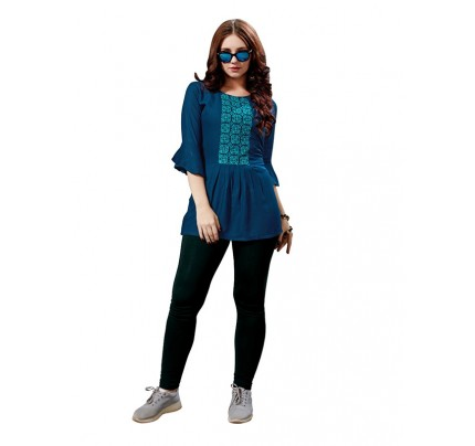 Summer Special Blue color Heavy Rayon Slub Top