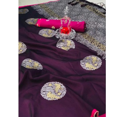 Stunning Look Purple Colour Banarasi silk weaving saree with  reach pallu