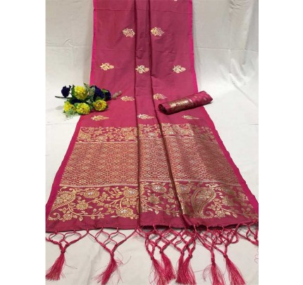 Attractive Look Pink Colour Soft Banarasi Silk Saree with Silver and Gold Zari weaving Pallu