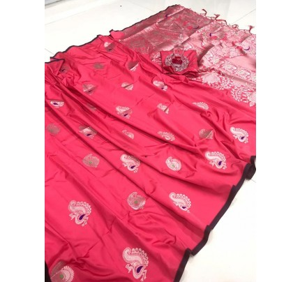 Elegance Look Pink Banarasi Silk weaving jacquard Saree with reach pallu