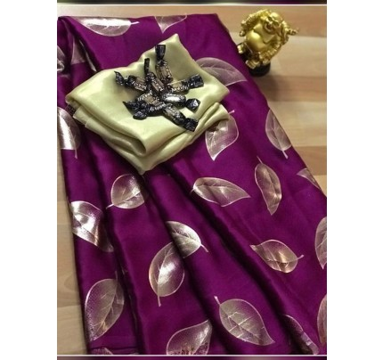 Classic Look Purple Color Pure Sattin Silk With Floral Print Saree