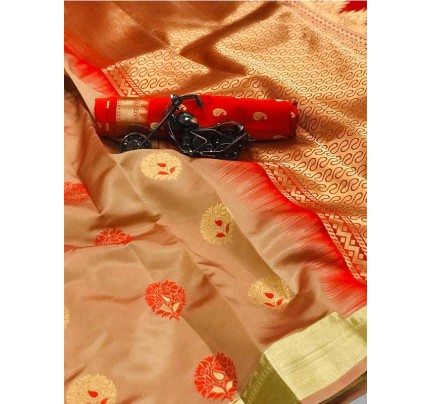 Cream Color Lichi Silk Saree With Zari Weaving Butta on Saree