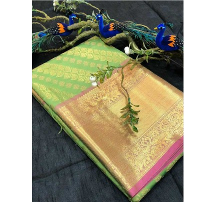 Stunning Look Green Colour Soft Banarasi Silk Beautiful Zari  Work Saree