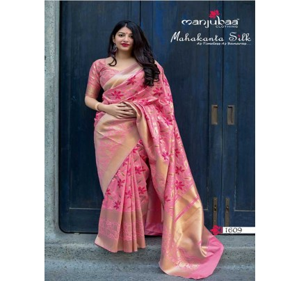 Latest Traditional Look Pink Color Pure Jamdani Silk with Minakari Weaving Saree
