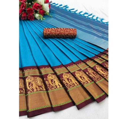 Elegance Look SkyBlue Colour Cotton Silk Saree with Broad contrast border