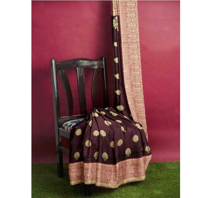 Brown Colored Beautiful Pure Weaving Silk Meenakari Design Saree