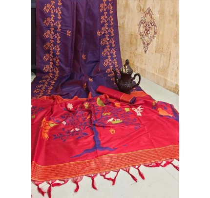 New Eye Catcher Purple Color Soft Raw Silk Two Tone Weaving Saree