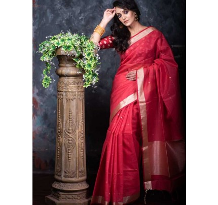 Stunning Red Color Linen Silk Saree With Silver Zari Checks
