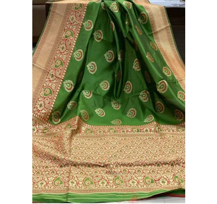 Special Edition Green Color Banarasi Silk Minakari Weaving Work Saree