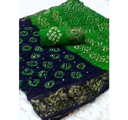 Design Blue Color  Cotton  Base Bandhani  Silk Saree