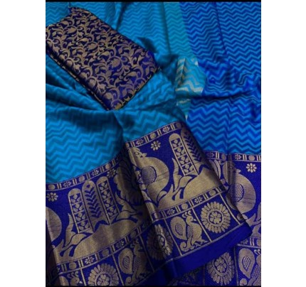 Elegance Look Blue Colored Rich Cotton  Saree