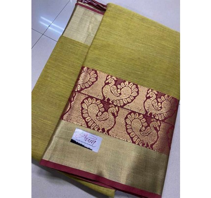 Stunning Cream Color Pure Cotton Silk Saree