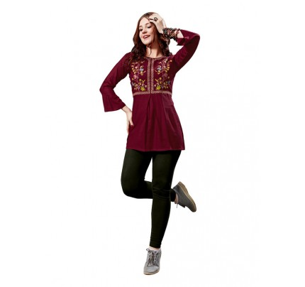 Summer Special Maroon color Heavy Rayon Slub Top