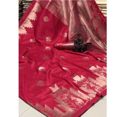 Stunning Pink Color Ekkat Silk Rich Pallu Weaving Border  All Over Nice Designing Saree With Weaving Blouse