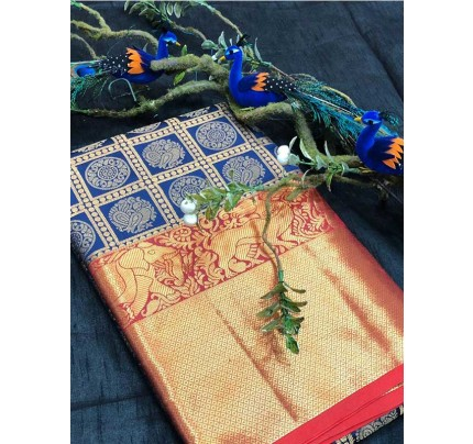 Stunning Look Blue Colour Soft Banarasi Silk Beautiful Zari  Work Saree