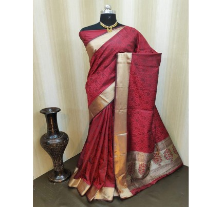 Classic Look Maroon Color Satin Silk Saree With AllOver weaving work