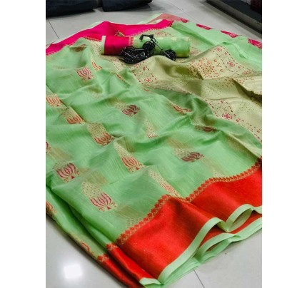 Wedding Look Green Color Soft Linen Silk Saree