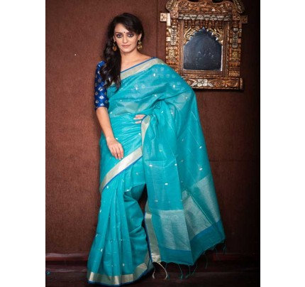 Stunning SkyBlue  Color Linen Silk Saree With Silver Zari Checks