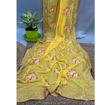 Celebrity Style Georgette Silk Saree with flower work & banglori Sattin Silk blouse