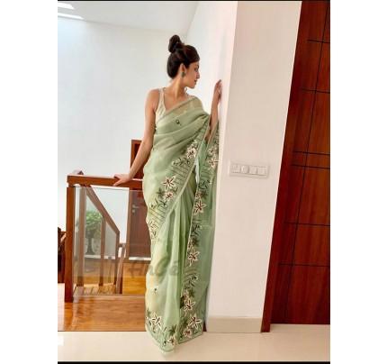 Premium Organza Silk Saree with flower work piping & banglori sattin blouse