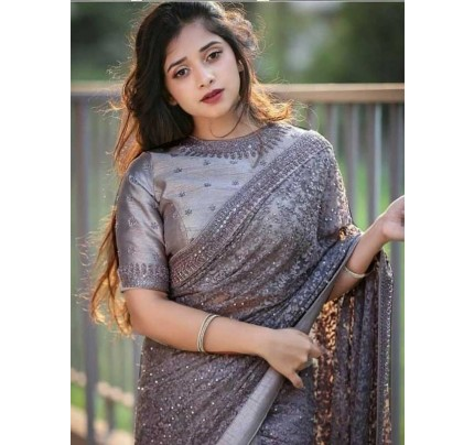 Bollywood Grey Color Butterfly Nylone Net With  Benglory Silk Blouse  Branded saree