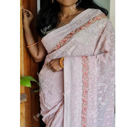 Floral Style Georgett Silk Saree with flowers work jal & matching thread work with Banglori Sattin Silk blouse