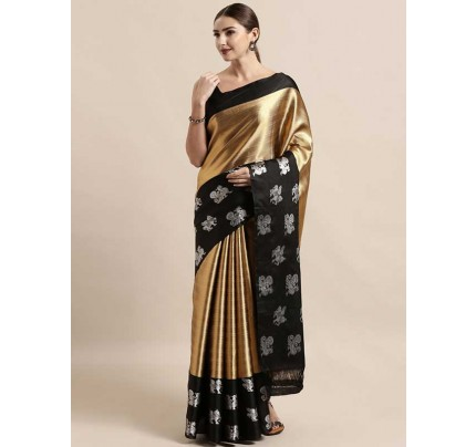 New Gold Colour Muslin Silk Kanjeevaram Woven Design Saree