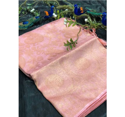 Stunning Look Pink Colour Pure Banarasi Silk with pure golden Jari yarn saree