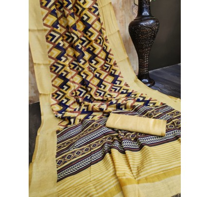 Eye-Catching Look Multi color Linen Cotton Saree With All Over Beautiful Print Saree