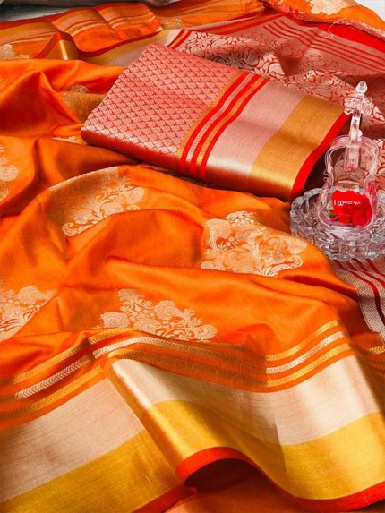 Rich Look Orange Colour Soft Banarasi Silk Weaving Work Saree