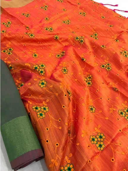 Attractive Look Orange Colour Banglori Raw Silk Saree with Embroidered Cut Work