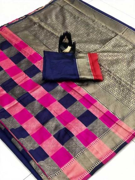 Stunning Look Multi Colour Soft banarsari Silk Saree With heavy Pallu